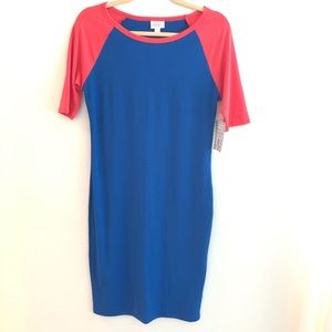 LulaRoe Julia Blue Red Raglan Dress Baseball SZ S